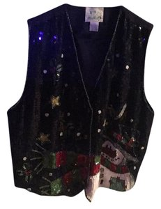 Quacker Factory Christmas Snowman Sequined Vest