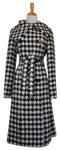 Max Mara Winter Houndstooth Plaid Wool Belted Pea Coat
