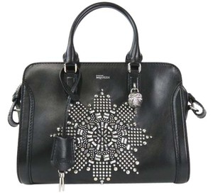 Alexander McQueen Padlock Studded Zip Satchel in Black