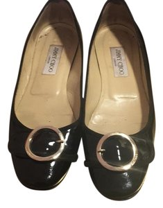 Jimmy Choo Black Patent Leather with silver detail Flats