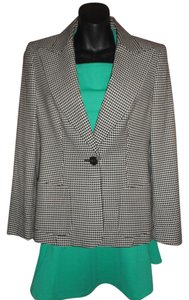 Escada Houndstooth Wool Blend White/Black Blazer
