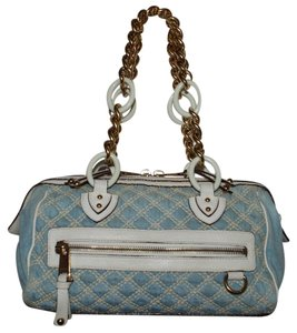 Marc Jacobs Denim Made In Italy Chain Straps Quilted Shoulder Bag
