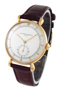 Vacheron Constantin 18k Rose Gold Brown Leather 36mm Watch