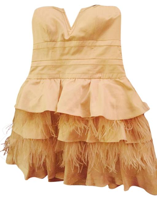 Preload https://img-static.tradesy.com/item/20127067/bebe-beige-golden-strapless-mini-feathers-above-knee-cocktail-dress-size-12-l-0-1-650-650.jpg