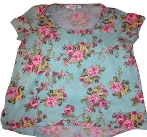 Forever 21 Flowered Top Blue/Pink Flowered