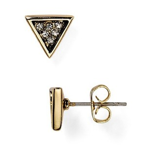 House of Harlow 1960 Electrum Stud Triangle Earrings Gold Crystal