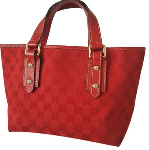 Gucci Gg Monogram Jacquard Satchel in Red