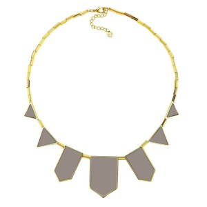 House of Harlow 1960 Gold & Khaki Leather Station Necklace Statement