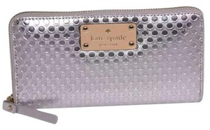 Kate Spade Kate Spade Neda Yaletown Silver Patent Womens Zip Around Wallet