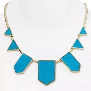 House of Harlow 1960 Gold & Turquoise Suede Leather Station Necklace
