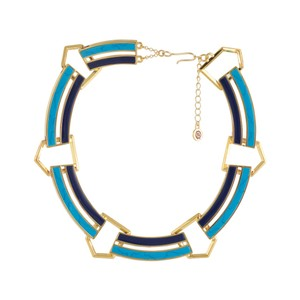 House of Harlow 1960 Gold Turquoise Blue Enamel Choker Statement Necklace