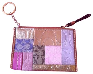 Coach Patchwork Signature Keychain Pouch/Wallet-Back Pocket-Retail $78