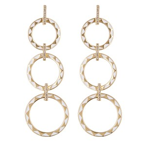 House of Harlow 1960 White + Gold Triple Circle Dangle Earrings