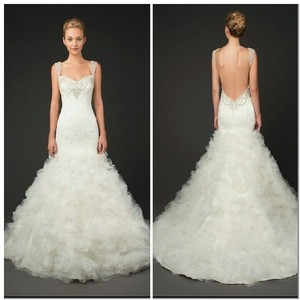 Winnie Couture White Lace And Tulle Melinda 3201 Formal Wedding Dress Size 4 S