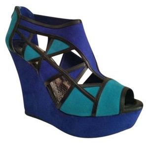 Gianni Bini Color-blocking Suede Leather Blue Wedges