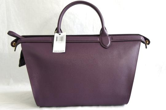 Longchamp Saffiano Satchel in Berry Image 2