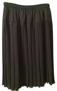 Pleated Gabardine Skirt Black