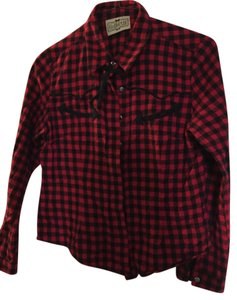 Collectif Rockabilly Western Cowboy Button Down Shirt red and black check