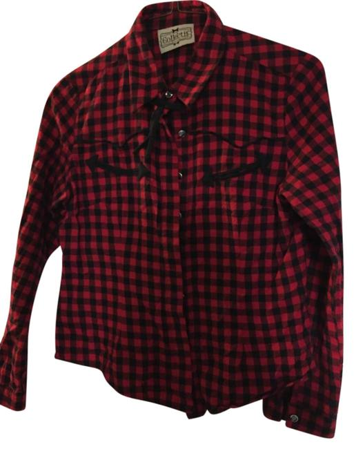 Item - Red and Black Check Rockabilly Button-down Top Size 10 (M)