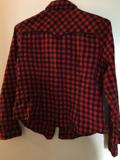 Collectif Rockabilly Western Cowboy Button Down Shirt red and black check Image 1
