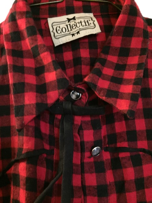 Collectif Rockabilly Western Cowboy Button Down Shirt red and black check Image 2