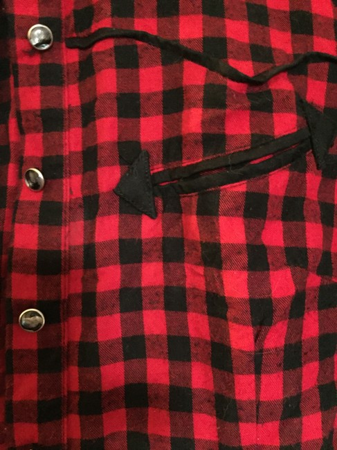 Collectif Rockabilly Western Cowboy Button Down Shirt red and black check Image 3