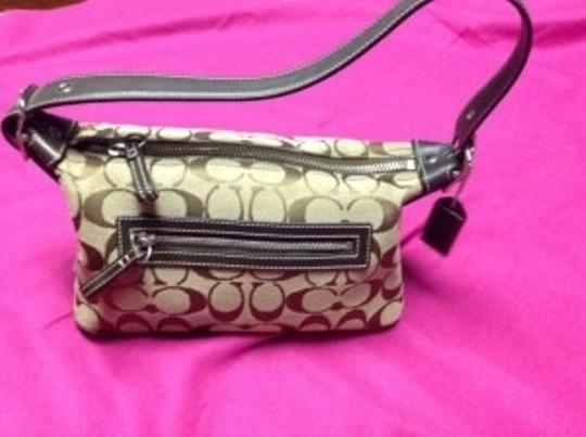 Coach Like New Leather Trim Signature Baguette