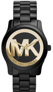 Michael Kors MICHAEL KORS WOMENS MK6057 RUNWAY BLACK ION YELLOW GOLD TONE WATCH