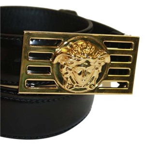 Versace Versace Belt Black Patent Leather with Gold Medusa Logo