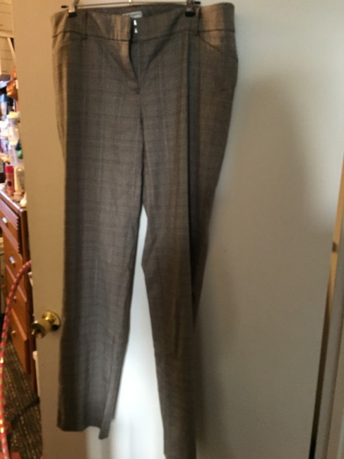 Sharagano Plaid Trouser Pants black and cream houndstooth check with metallic threads Image 1