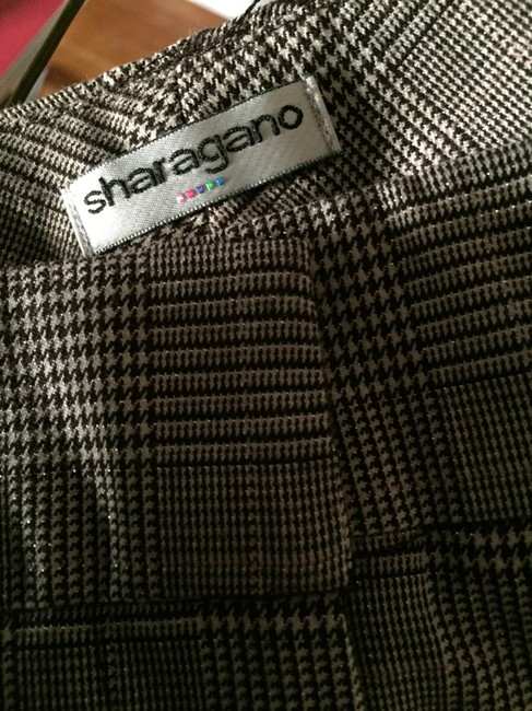 Sharagano Plaid Trouser Pants black and cream houndstooth check with metallic threads Image 3