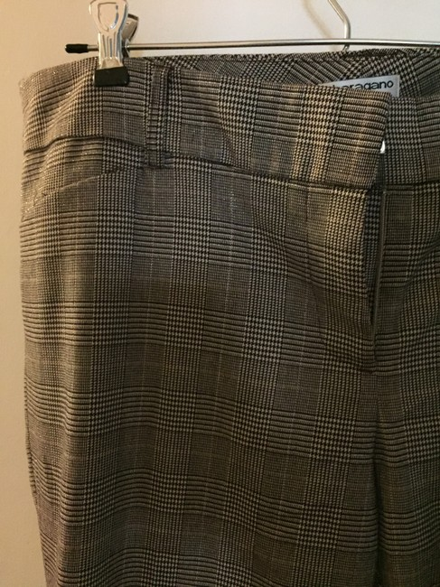 Sharagano Plaid Trouser Pants black and cream houndstooth check with metallic threads Image 5