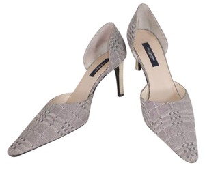 Burberry London D'orsay Grey White Pumps