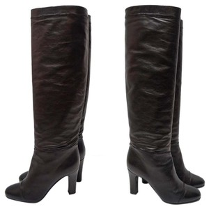 Nina Ricci Leather Knee Slouch Black Boots