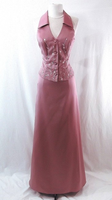 Item - Dusty Rose Satin Style 6722 Casual Bridesmaid/Mob Dress Size 6 (S)