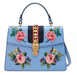 Gucci Sylvie Floral Satchel in Blue