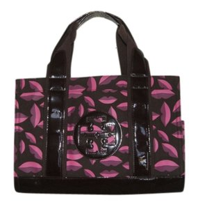 Tory Burch Canvas Leather Trim Tote in Lips Print