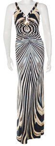 Roberto Cavalli Sleeveless Maxi V-neck Animal Print Gold Hardware Dress