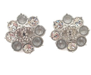 Chanel Brand New Chanel Silver CC Snowflake Shiny Piercing Earrings