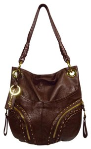 B. Makowsky Studded Chocolate Glove Leather Shoulder Bag