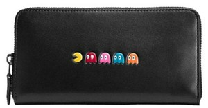 Coach Pac-Man Calf Leather Accordion Zip Black Wallet, F55736 NWT Limit Edn