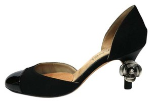 Chanel Fabric/leather Rlower Ring Black Pumps