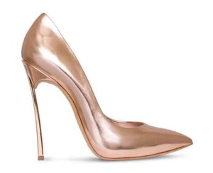 Casadei Stiletto Metallic Rose Gold Pumps