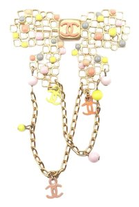 Chanel Chanel Gold Bow Multi Color Stone Bead Large Brooch