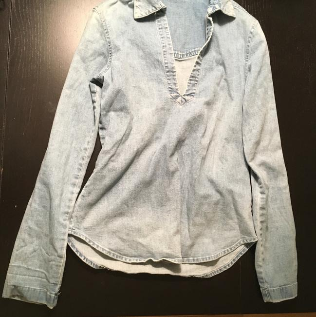 Theory Denim Vince Intermix Tunic Top Blue Image 1