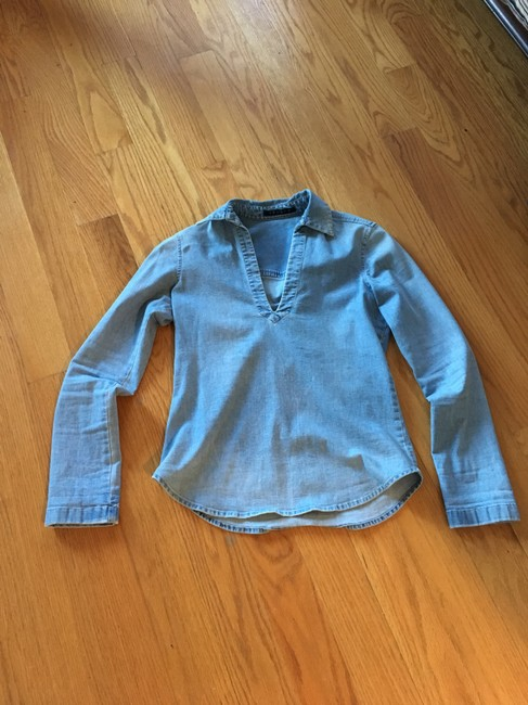 Theory Denim Vince Intermix Tunic Top Blue Image 3