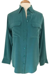Equipment Classic Silk Professional Work Day/night Top Teal