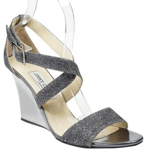 Jimmy Choo Fearne 40 Anthracite Metallic Silver Wedges