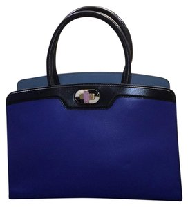 BVLGARI Satchel in Blue And black Leather With Gold Hardwear