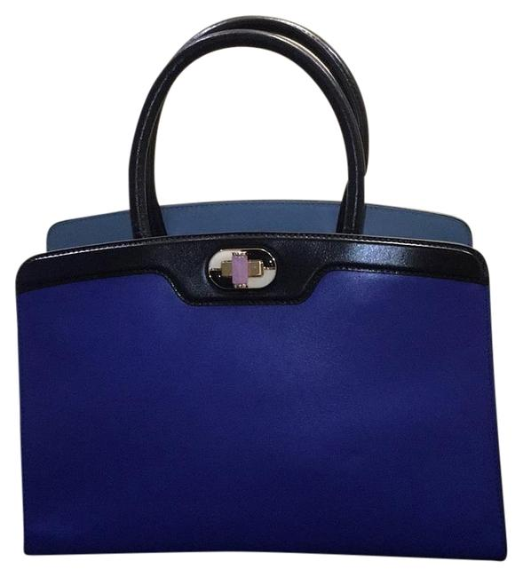 Item - Top Handle Bag Icona 10 Palmellato Dazzling Blue and Black Leather with Gold Hardwear Calf Satchel
